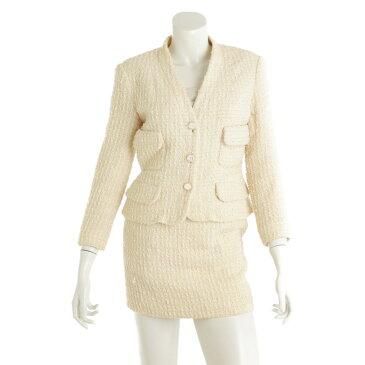 【シャネル】Chanel ツイード ジャケット スカート セットアップ 95C オフホワイト 40 【中古】【鑑定済・正規品保証】【送料無料】38030