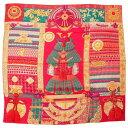 【エルメス】Hermes カレ140 カシミヤ シルク ストール スカーフ Parures de Samourais 侍の鎧兜 和柄 ピンク オレンジ グリーン 【中古】【鑑定済・正規品保証】123449・・・