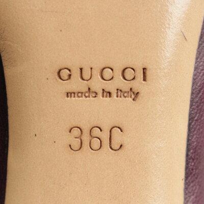 【グッチ】Gucciレザーポインテッドトゥパンフスパープル36C【】【鑑定済・正規品保証】【送料無料】18218