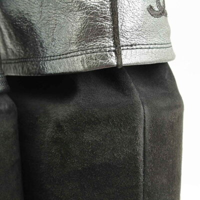 【シャネル】Chanelココマークスエードロングブーツグレー361/2【】【鑑定済・正規品保証】【送料無料】20305