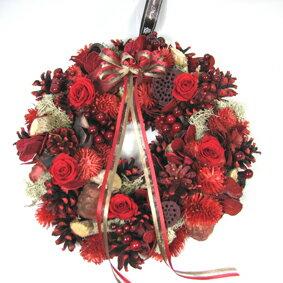 【クリスマス】【リース】【木の実】木の実とプリザーブドフラワーのクリスマスリース [レッド...
