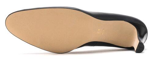 【ROSSINI】大人っぽいラウンドトゥのきれいなパンプスDBUカーフ・ヒール6cm日本製レザーシンプル履きやすい21.5cm25.5cmキレイブルー