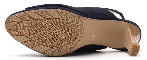 【ROSSINI】定番のネイビーカラー☆シンプルバージョン☆スエード素材のストーム入りサンダル/GBUS・ヒール8cmROSSINIカジュアル靴シンプルキレイ綺麗日本製21.525.5レディース履きやすい