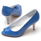【ROSSINI】人気の定番カラー☆ネイビースエード☆太めヒールで履きやすい☆まる〜いトゥのキレかわいいプレーンパンプス/GBU・ヒール7cm【ROSSINI】キレイな発色のアンティークエナメル☆コバルトブルーが美しい☆つま先開き少なめのオープントゥパンプス/BUSE・ヒール8cm