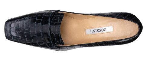【ROSSINI】人気のネイビーワニ型押レザー☆履きやすくてロングセラー☆大人シャープなスクウェアトゥのヒールローファー/DBUワニ・ヒール6cm
