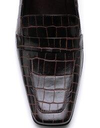【ROSSINI】大人気マテリアル☆高級素材☆ダークブラウンのワニ型押素材☆履きやすくてロングセラー☆大人シャープなスクウェアトゥのヒールローファー/DBRワニ・ヒール6cm