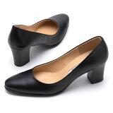 【ROSSINI】定番ブラックスムースレザー☆フォーマルにも、カジュアルにも☆太ヒールの安心感☆大人っぽいラウンドトゥのきれいなパンプス/BL・ヒール6cm 黒 Black フォーマル 靴 シンプル キレイ 綺麗 日本製 21.5 25.5 レディース