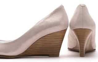 【ROSSINI】履きやすいウェッジヒール☆上品ライトベージュのラメ素材☆大人っぽいラウンドトゥのきれいなウェッジパンプス/LBGラメ・ヒール6.5cm