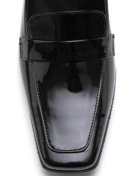 【ROSSINI】ブラックエナメル★スクウェアトゥのシンプルなヒールローファー/BLE、ヒール6cm