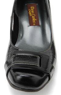 ブラックのみ【DonCarlos】ベルト&バックルがアクセント☆エナメル素材のスクウェアトゥのウェッジヒールパンプス/ヒール3cm