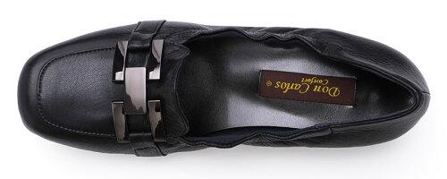 【DonCarlos】柔らか革×履き口ゴムで履きやすい☆バックルデザインのコンフォートローファー/ヒール2.5cm