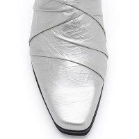 【DonCarlos】ギャザー仕様のシンプルな飽きのこないデザインミュールヒール6cmパンプスミドルヒールブラックシルバー歩きやすい快適