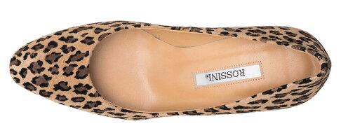 【ROSSINI】履きやすいウェッジヒール☆柄小さめで上品なヒョウ柄スエード☆大人っぽいラウンドトゥのきれいなウェッジパンプス/BGP・ヒール6.5cm