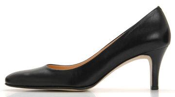 【ROSSINI】大人っぽいラウンドトゥのきれいなパンプス/カーフ・ヒール6cm黒Blackブラックフォーマル靴シンプルキレイ綺麗日本製21.525.5レディース