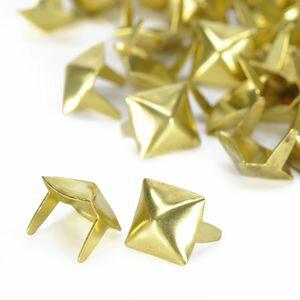 ピラミッド型 スタッズ 2爪 7mm [ ブラス / 1個 ] スタッズベルト 革細工 レザークラフト材料 メンズベルト自作 ハンドメイド 金属鋲 トゲ 棘