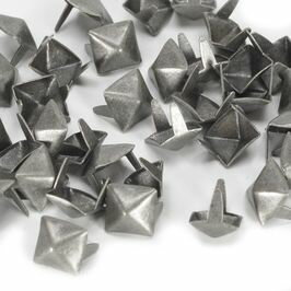 ピラミッド型 スタッズ 2爪 7mm [ アンティークニッケル / 1個 ] スタッズベルト 革細工 レザークラフト材料 メンズベルト自作 ハンドメイド 金属鋲 トゲ 棘