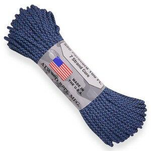 ATWOOD ROPE 550パラコード タイプ3 ブルースペックカモ アトウッドロープ ARM 商用 Blue Spec Camo 青 黒 パラシュートコード 綱 靴紐 靴ひも シューレース 防災 550コード ナイロンコード画像