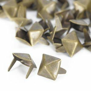 ピラミッド型 スタッズ 2爪 7mm [ アンティークブラス / 1個 ] スタッズベルト 革細工 レザークラフト材料 メンズベルト自作 ハンドメイド 金属鋲 トゲ 棘
