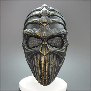 黑色與金色面具頭骨大小防護面具骷髏臉面罩 sabage 顱骨