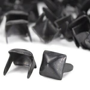 ピラミッド型 スタッズ 2爪 7mm [ ブラック / 1個 ] スタッズベルト 革細工 レザークラフト材料 メンズベルト自作 ハンドメイド 金属鋲 トゲ 棘