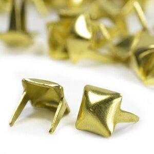 ピラミッド型 スタッズ 2爪 5mm [ ブラス / 1個 ] スタッズベルト 革細工 レザークラフト材料 メンズベルト自作 ハンドメイド 金属鋲 トゲ 棘