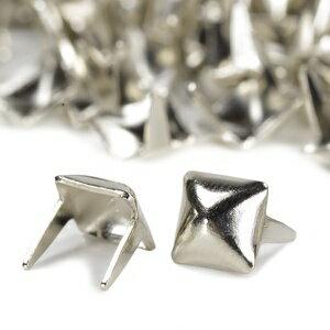 ピラミッド型 スタッズ 2爪 5mm [ ニッケルシルバー / 1個 ] スタッズベルト 革細工 レザークラフト材料 メンズベルト自作 ハンドメイド 金属鋲 トゲ 棘