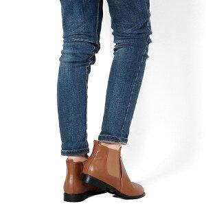 ショートブーツサイドゴアブーツ◆ab89◆(キャメル茶色ブラック黒)大きいサイズ3L(25.0cm)までローヒール幅広で痛くないぺたんこマニッシュおじ靴ワークブーツレディース靴大人
