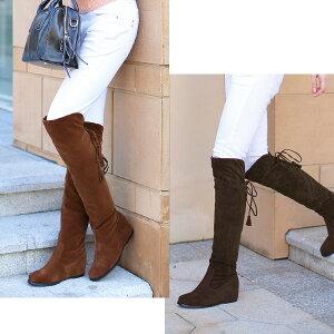 シークレットヒール入りニーハイ◆6-30◆(グレー・ブラック黒)折り曲げるとロングブーツに♪ローヒール歩きやすいインヒー6cmレディース靴