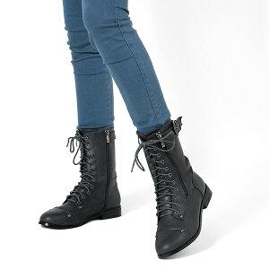 サイドベルト&ジップデザインのレースアップブーツ◆ch49◆(キャメル/ダークブラウン茶色/ブラック黒)ぺたんこヒール2cm3cmフラットシューズ編み上げブーツマニッシュカジュアル痛くない歩きやすいレディース靴