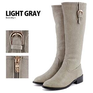 大きサイズ3L(25.0cm)まで◆縦ベルトのロングブーツ◆dk25◆ジョッキーブーツ(グレージュ/ダークブラウン茶色/ブラック黒)歩きやすいヒール3cmレディース靴大人