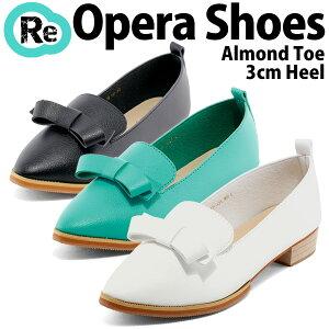 リボン付きオペラシューズ◆ff121◆(ホワイト白ミントグリーン緑ブラック黒)マニッシュパンプスおじ靴スリッポンアーモンドトゥ歩きやすいローヒール大きいサイズ3L(25.0cm)までレディース靴