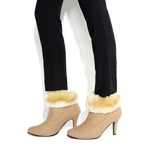 ファーブーティー◆ff134◆2wayショートブーツ(ベージュグレーブラック黒)大きいサイズ3L(25.0cm)までハイヒール歩きやすいボアふわふわキュートレディース靴大人
