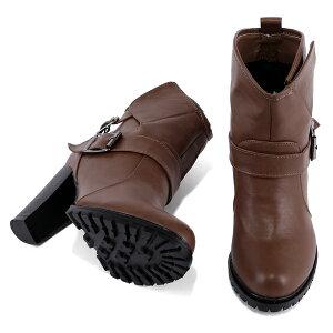 ショートブーツ◆ff156◆(キャメルダークブラウン茶色ブラック黒)大きいサイズ3L(25.0cm)までハイヒール9cm安定感太ヒール歩きやすいチャンキーヒール幅広で痛くないスタッズレディース靴大人
