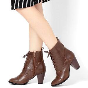 オックスフォードショートブーツ◆FF92◆歩きやすい太めヒール8cm(ブラウン茶/ブラック黒)アーモンドトゥショートブーツレディース靴