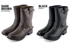レインブーツ(エンジニアブーツ)完全防水ショートーツ長靴(ブラウン茶/ブラック黒/豹柄)ヒョウ柄◆レディース靴大人雨靴雪対策