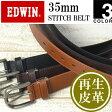 EDWIN(エドウィン) 35mm幅 サイドステッチ レザーベルト メンズ 再生皮革 シンプル カット可0110745 【楽ギフ_包装】