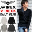 AVIREX(アビレックス) リブ素材 Vネック 長袖Tシャツ 無地 ...