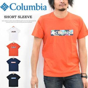 Columbia コロンビア ボックスロゴ プリント 半袖 Tシャツ メンズ キャンプ アウトドア プリントTシャツ 半袖Tシャツ ロゴTシャツ AE0403