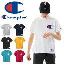 Champion チャンピオン ビッグロゴ刺繍 半袖 Tシャツ アメカジ デカロゴ メンズ レディース ビッグC ビックロゴ 半T カットソー トップス ユニセックス 半袖Tシャツ C3-F362