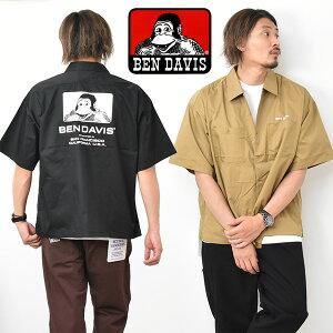 BEN DAVIS ベンデイビス ビッグシルエット ロゴプリント 半袖 ワークシャツ メンズ レディース ユニセックス ベンデビ 半袖シャツ 大きめ ゴリラ 送料無料 0580038