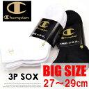 Champion チャンピオン 3P ソックス 大きいサイズ 27〜2...