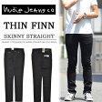 【送料無料】 Nudie Jeans(ヌーディージーンズ) THIN FINN(シンフィン) スキニーストレート ストレッチデニム 470:DRY COLD BLACK 112303 定番 ストレッチ デニム メンズ ブラックスキニー イタリア製 【楽ギフ_包装】