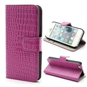iPhone5ケース iPhone5sケース ワニ皮調レザーケース カードスロット機能付きケース 全4色 ローズ /Apple/アップル/iPhone5/iPhone5s/カバー/ケ-ス/スマホケース/スマホ/スマホカバー/スマートフォン/レザーケース/バンパーケース/ハードケース/横開き