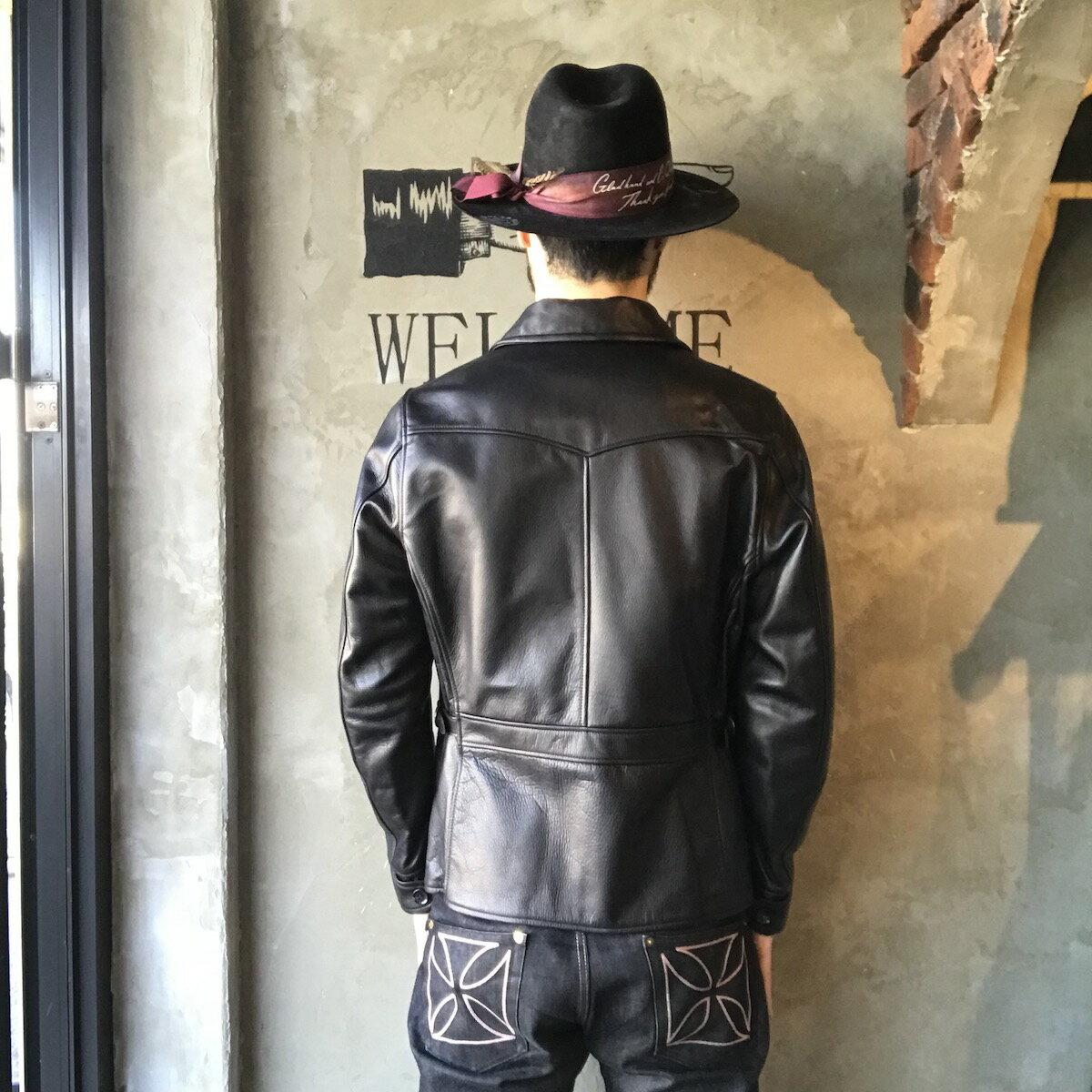 """【残りMサイズのみ】GANGSTERVILLE MOTORCYCLE - JACKET """"COW HIDE"""" (BLACK) ギャングスタービル カウハイド ライダース/レザー ジャケット/GLADHAND【WEIRDO/ウィアード/OLD CROW/オールドクロウ】"""