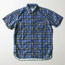 【残りMサイズのみ】SNOID Bird nel S/S SHIRTS (Blue) スノイド 半袖 チェックシャツ