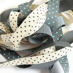 ドットプリント ペタシャム リボン 25mm メーター売 全21色 水玉 SHINDO 服飾 手芸 グログラン アクセサリー SIC-310-25