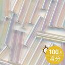 MIYUKI 竹ビーズ 4分 2.4x12mm #250 クリスタルAB 100グラムバラ (20グラムパック×5個) 約900粒入り ミユキビーズ