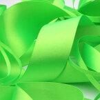 ネオンカラー サテンリボン 両面ポリエステル 9mm 蛍光グリーン 9.14M巻 手芸 服飾 ラッピング FUJIYAMA RIBBON