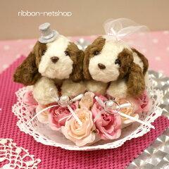 【結婚式】【ブライダル】ウェディングドッグ(キャバリア)シルクフラワー(造花)リングピローFL-WG-367[リボンネットショップ]