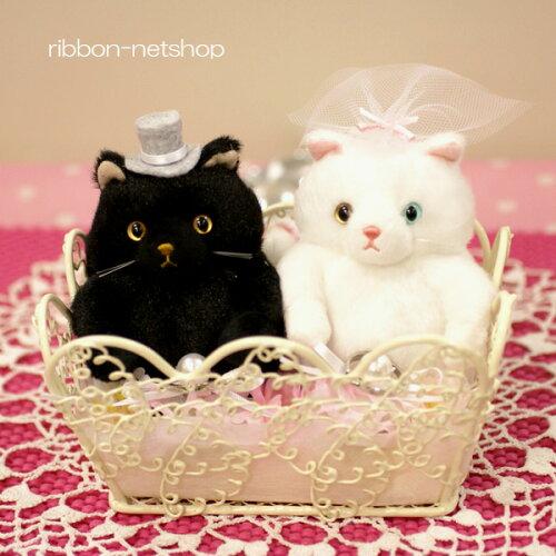 ウェディングネコ(黒猫×白猫/こえど×こまち) シルクフラワー(造花)リン...